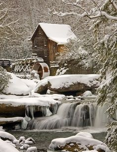 Glade Creek Grist Mill After Snow Storm