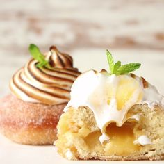 Stuffed with lemon curd and topped with meringue, some donuts go way beyond breakfast.