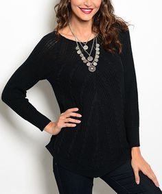 Love this Miss Lily Black Chevron-Knit Sweater by Miss Lily on #zulily! #zulilyfinds
