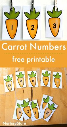 carrot number cards free printable, spring alphabet printables, easter letter printables, spring literacy centers