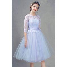 Lavender Lace Tulle Half Sleeve Tea Length Prom Party Tutu Dress SKU-401094