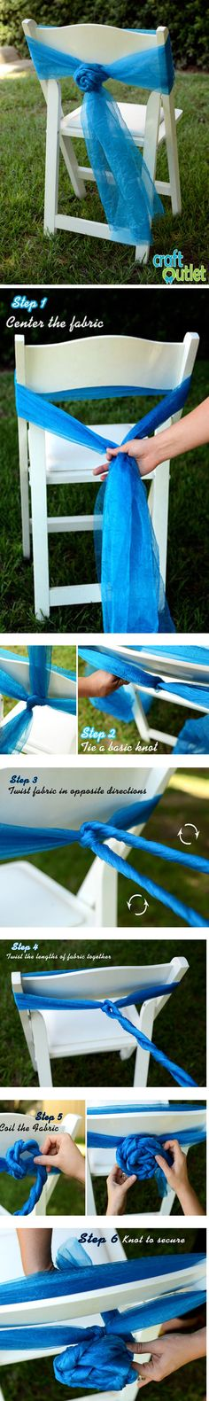 Tutorial How to make a Sheer Chair Bow Rosettes Wedding Chair Decorations, Wedding Chairs, Decoration Table, Chair Bows, Chair Sashes, Craft Outlet, Chair Covers, Event Design, Design Design