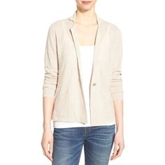 Eileen Fisher Notch Collar Knit Jacket ($248) ❤ liked on Polyvore featuring outerwear, jackets, natural, petite, sweater jacket, petite sweater jacket, pink sweater jacket, long sleeve jacket and eileen fisher jacket