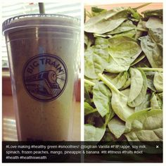Spinach smoothies using Big Train's Vanilla Fit Frappe base. Recipe by @Marian Bacol-Uba Delicious Green Smoothies.