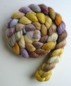 Unspun wool roving, Blueface Leicester/Tussah Silk, hand dyed wool roving, Three Waters Farm, Fading Light