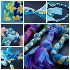 DIY Fleece Rope Dog Toy - made these with leftover blanket fleece. So easy and our dog loves them! BAB