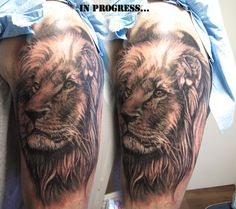 (*u*)/ Lion Tattoo on arm