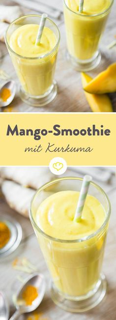 Mango smoothie and superfood turmeric - Smoothie-Challenge - Smoothie Recipes Smoothie Challenge, Smoothie Prep, Smoothie Drinks, Detox Drinks, Healthy Smoothies, Smoothie Detox, Healthy Drinks, Smoothie Recipes, Orange Smoothie