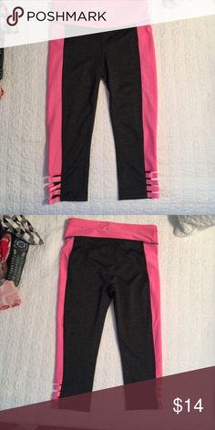 Fitness pants Dark gray with Pink workout legging Capri, very cute leg detailing. Never worn. Xersion Pants Track Pants & Joggers