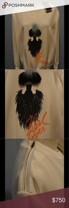 🆕Fendi X Karlito Sweatshirt🆕 DETAILS  Fendi Fur-Embellished Logo Tops Casual-Cool Pullover Ribbed Neckline, Cuffs And Hem Cotton/Nylon Silk Lining Fur Type: Dyed Fox Fur Origin: Finland Fur Type: Dyed Mink Fur Origin: Finland Dry Clean By Fur Specialist Italy Cashmere Fendi Tops Sweatshirts & Hoodies