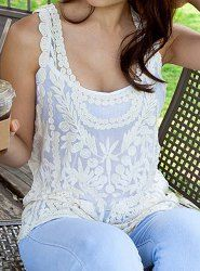 Hollow Out Design Sleeveless Scoop Neck Lace Women's Tank Top 10.00