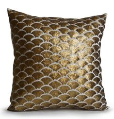 Gold Pillows Cushions Covers Dark Gold Embroidered by AmoreBeaute Gold Accent Pillows, Gold Throw Pillows, Blue Pillows, Sequin Cushion, Sequin Pillow, Silk Pillow, White And Gold Decor, White Gold, Brown Couch Pillows