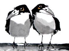Kalpa Maclachlan - Rooks: Sumi-e (art ink painting) Crow Painting, Sumi E Painting, Watercolor Paintings, Crow Art, Bird Art, Japanese Painting, Japanese Art, Art Chinois, Art Asiatique