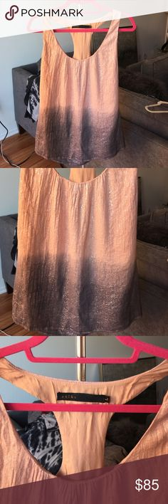 ⭐️$50.00⭐️ shimmer top ⭐️NEW NEVER WORN⭐️ ⭐️SMOKE/PET FREE HOME⭐️ SOLD OUT STYLE. 40% linen 30% cotton 30% lurex. Contrast is 100% silk. Meant to be worn not fitted. Akiko Tops Tank Tops