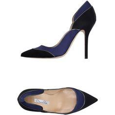 Oscar De La Renta Pump (730 CAD) ❤ liked on Polyvore featuring shoes, pumps, dark blue, oscar de la renta shoes, stiletto pumps, high heels stilettos, stilettos shoes and print shoes