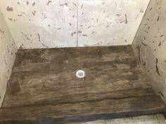 Carved concrete shower pan - old barn wood  dccustomconstruction.net Concrete Shower Pan, Old Barn Wood, Poured Concrete, Shower Panels, Unique Furniture, Hardwood Floors, Carving, Bathroom, Wall