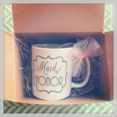 Asking your Maid of Honor to be part of your big day?! Why not gift her this fab mug that she can use during the wedding planning process and even on the morning of your big day! #willyoubemy #bridalpartygift #bridalparty #willyoubemygirl #maidofhonor #matronofhonor #bridesmaid #mug #weddinggift #weddingfavor #wedding #weddingideas #weddingthanks #weddinginspiration #ilulilydesigns