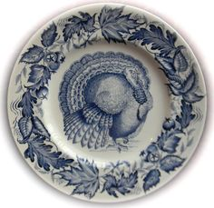 Thanksgiving Turkey Blue Transferware Plate Tonquin Clarice Cliff Royal Staffordshire – Nancy's Daily Dish