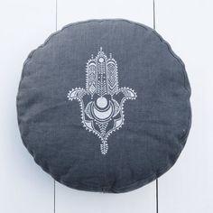 Yoga & meditation zafu Hamsa Dark grey, organic european linen designer zafus by PurePranaLabel