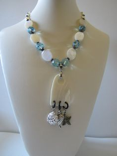 White Mother of Pearl Necklace with Shell pendant Beach by yasmi65, $28.00