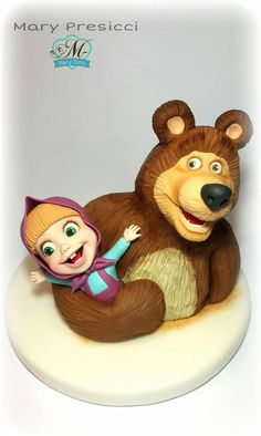 Mary Presicci Sugar Art added a new photo. 3 Year Old Birthday Cake, Baby Birthday Cakes, Cake Topper Tutorial, Fondant Tutorial, Fondant Cake Toppers, Fondant Cakes, Masha Cake, Biscuits, Masha And The Bear