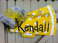 Items similar to Personalized Cheerleader Megaphone Wooden Door Hanger on Etsy - Lilly is Love Burlap Door Hangers, Wooden Hangers, Burlap Crafts, Wood Crafts, Cheer Locker Decorations, Cheer Posters, Locker Signs, Door Signs, Football Door Hangers