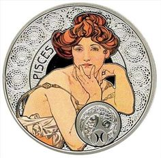 Pisces silver coin, with the art of Alfons Mucha
