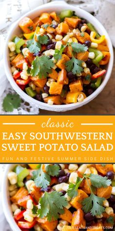 Try changing up the classic potato salad to a whole new level! Southwestern Sweet Potato Salad is perfect for summer. Made with sweet potatoes, southwestern flavors, and a roasted red pepper dressing, this easy side dish is a fun and festive addition to your summer menu! Classic Potato Salad, Salad With Sweet Potato, Summer Side Dishes, Side Dishes Easy, Easy Summer Meals, Summer Recipes, Easy Meals, Best Salad Recipes, Healthy Family Meals