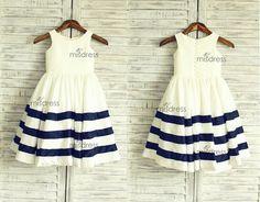 navy & white flower girl dresses, wedding | Ivory/Navy Blue Stripe Taffeta Flower Girl Dress Wedding Easter Junior ...