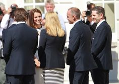 Friendly chat: The Duchess of Cambridge was greeted by crowds of well-wishers as she arrived at the Royal Maritime Museum in Greenwich
