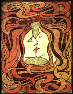 Peter Behrens. The Kiss, woodcut, 1898 - Google Search