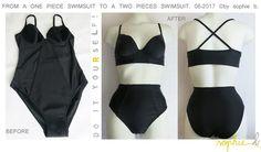 � by sophie b. Spring / Summer 17: TUTO PAS A PAS PHOTOS: Le maillot de bain ann�es 50 // D.I.Y. a 2 pieces swimsuit in a 1 piece swimsuit, 50's inspired.