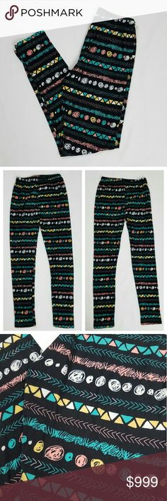 """LA12ST Geometric Pattern Printed Soft Leggings M/L Very soft leggings by LA12ST. Geometric printed pattern with yellow, teal, peach/pink, white and black colors. Fabric is stretchy and extremely soft. Purchased from a local boutique. New without tag [NWOT].   Size MEDIUM/LARGE according to tag.  Measures approximately:  Waist - 12"""" flat across  [elastic and stretches] Front rise - 10.5"""" L Inseam - 28"""" L Leg opening - 5"""" flat across LA12ST Pants Leggings"""