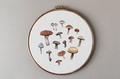 Inspired by spring flora and fungus, 21-year-old Emillie Ferrisembroiders one-of-a-kind hoops that feature detailed rabbits, foxes, and mushrooms. The works are handstitched and kept on their original frame, drawing the viewer's attention to the amount of handiwork that went into each