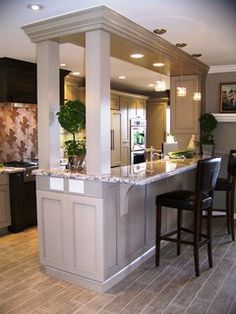 Open Kitchen With Support Wall Design Pictures Remodel Decor And Ideas