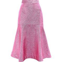 House of Holland Beach Lurex midi skirt (27.900 RUB) ❤ liked on Polyvore featuring skirts, metallic skirt, calf length skirts, frilled skirt, metallic midi skirt and purple midi skirt