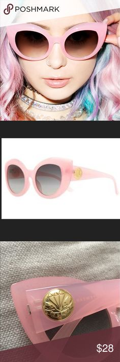 "Cotton Candy Diamond Brunch Sunglasses Crap Eyewear The Cotton Candy Diamond Brunch Sunglasses are perfect for when yer feline fine! These pastel pink shadez are inspired by retro cateye frames of yesteryear with a polycarbonate molded frame that have thick rims with cat eye pointed corners. Throw these sassy shadez on that have a gold embossed ""Crap"" logo on the arms, UV400 lenses (does not come with the original case) Accessories Sunglasses"