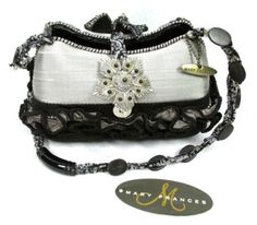 Vintage Mary Frances Small Black Beaded Silver Silk Jewel Floral Purse Hand Bag