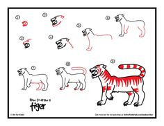 tiger art projects for kids - How To Draw A Tiger Art For Kids Hub Easy Tiger Drawing, Easy Animal Drawings, Drawing For Kids, Easy Drawings, Drawing Stuff, Drawing Tips, Projects For Kids, Art Projects, Class Projects