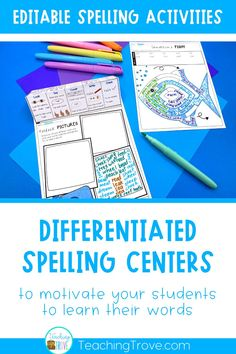Editable spelling activities can be used with any word list making them perfect for differentiated spelling centers. This packet of 49 spelling activities teaches students how to learn their spelling with the look, say, cover, write, check method.