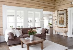 talonpokaistyyli,hirsiseinä,ryijy,tupa,mökki,olohuone