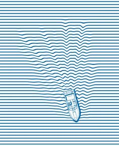 WAKE - via Phil Jones. This perfectly combines my love for all things stripe and all things boat. The blue sends me overboard. WAKE - via Phil Jones. This perfectly combines my love for all things stripe and all things boat. The blue sends me overboard. Phil Jones, Jones Jones, Graphic Design Agency, Graphic Design Inspiration, Graphic Art, Illustration Design Graphique, Art Graphique, Illustration Art, Design Illustrations