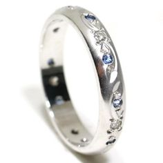 18k White Gold Sapphire & Diamond Hand Engraved Ring Size 5.25 Ct.tw 0.25: Jewelry: Amazon.com