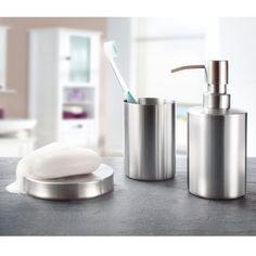 Seifenspender, Seifenschale und Zahnputzbecher aus gebürstetem Edelstahl