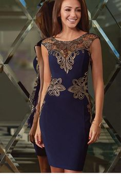 [US $29.26] - New Ladies Formal Elegant Vintage Dresses Sexy Hollow-out Sleeveless Foiled Applique Detail Shift Pencil Dress For Women LC22427