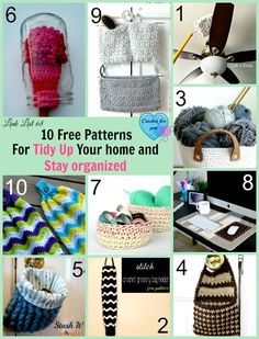 Crochet Gift Patterns 10 Free Crochet Patterns for Tidy Up Your Home and Stay Organized. - 10 Free Crochet Patterns for Tidy Up Your Home and Stay Organized. These free crochet patterns will help to keep the home organized and clean. Crochet Socks Pattern, Easy Crochet Patterns, Crochet Designs, Stitch Patterns, Crochet Ideas, Crochet Kitchen, Crochet Home, Crochet Gifts, Free Crochet