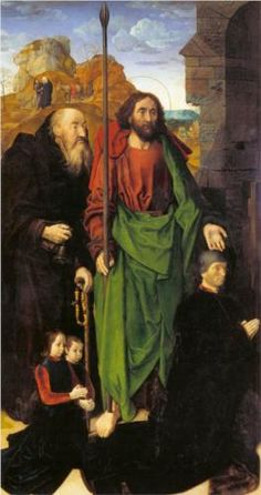 The Portinari Altarpiece, St. Thomas and St. Anthony the Hermit with Tommaso Portinari and two sons Antonio and Pigello, Left Wing  - Hugo van der Goes