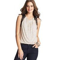 Dot Print Lace Strap Pleated Neck Shell - The perfect pick for those lacy days, we finished this delicately dotted shell with sweet pleating at the neckline - and saved the prettiest accent for the straps. Scoop neck. Sleeveless. Lace overlay with eyelash trim. Two button placket at back neck.