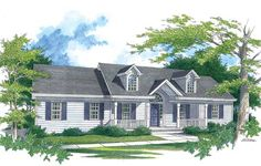 Simplicity is the strength of this house.  A covered front porch introduces the home and invites visitors.
