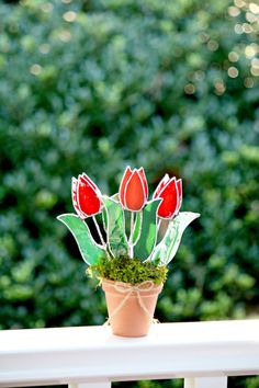 Stained+Glass+SuncatcherRed+Tulips+Home+Decor+by+GalaGardens,+$25.50